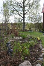 Även bronsälvan med fågelbadet har flyttat ut